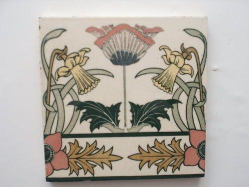 Jugendstil Fliese Kachel Villeroy Boch Mettlach Art Nouveau Tile