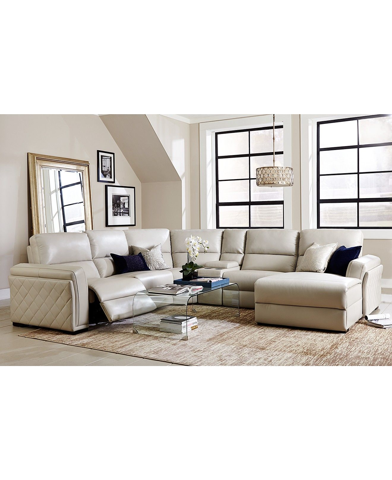 Jessi Quilted Side Leather 6 Piece Chaise Sectional Sofa With 1