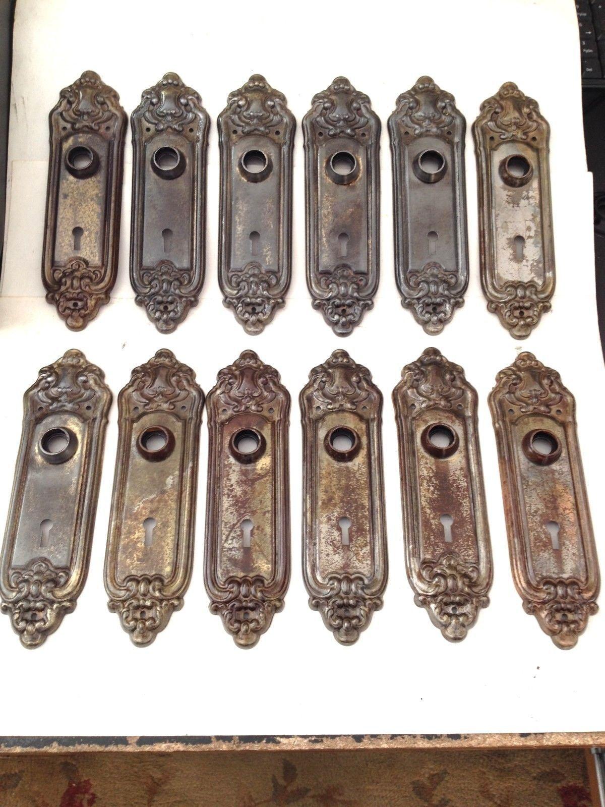 awesome antique arts craft deco victorian door knob back plates