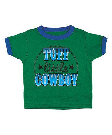 Kelly Green 'Tuff Little Cowboy' Ringer Tee - Toddler #zulily #zulilyfinds