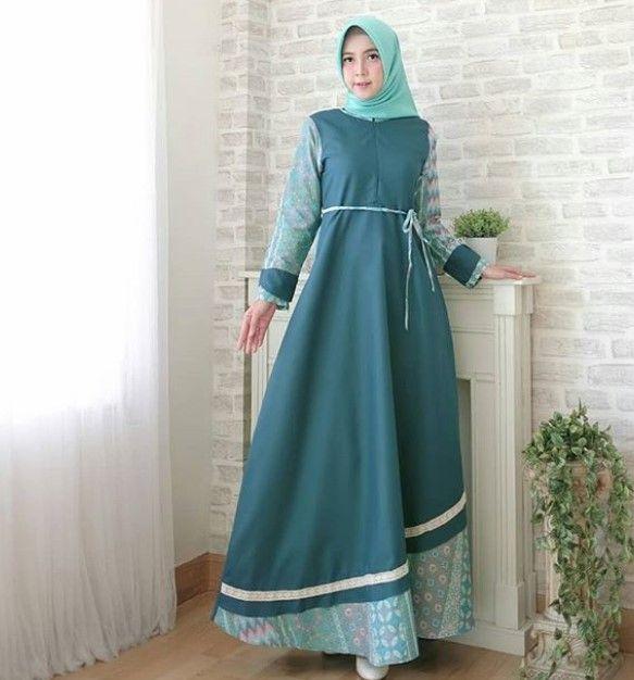 Model Baju Gamis Batik Kombinasi Kain Polos Simple Hijau Tua Model