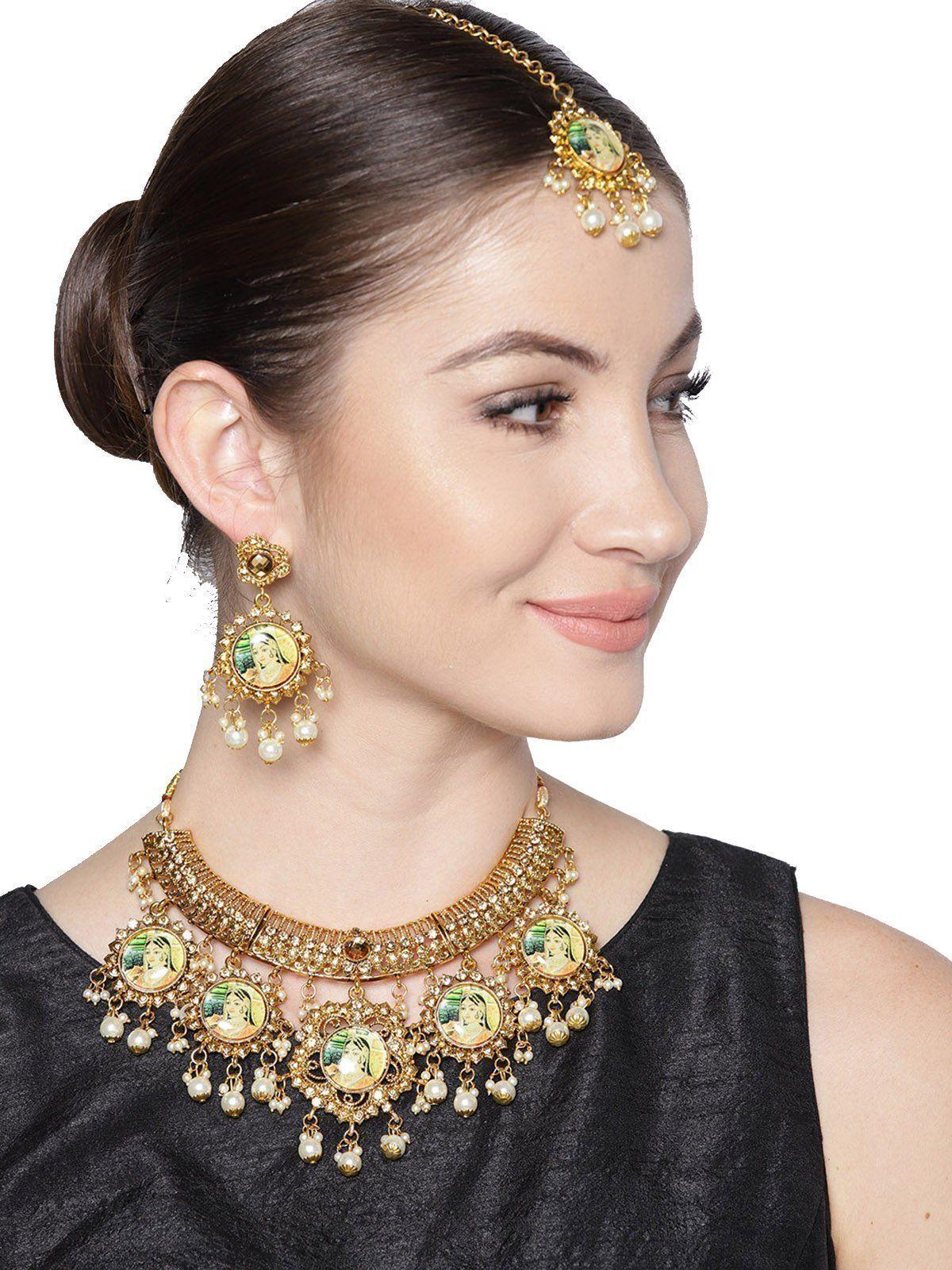 Zaveri Pearls Gold Tone Padmavati Inspired Pearl Drops Necklace Set