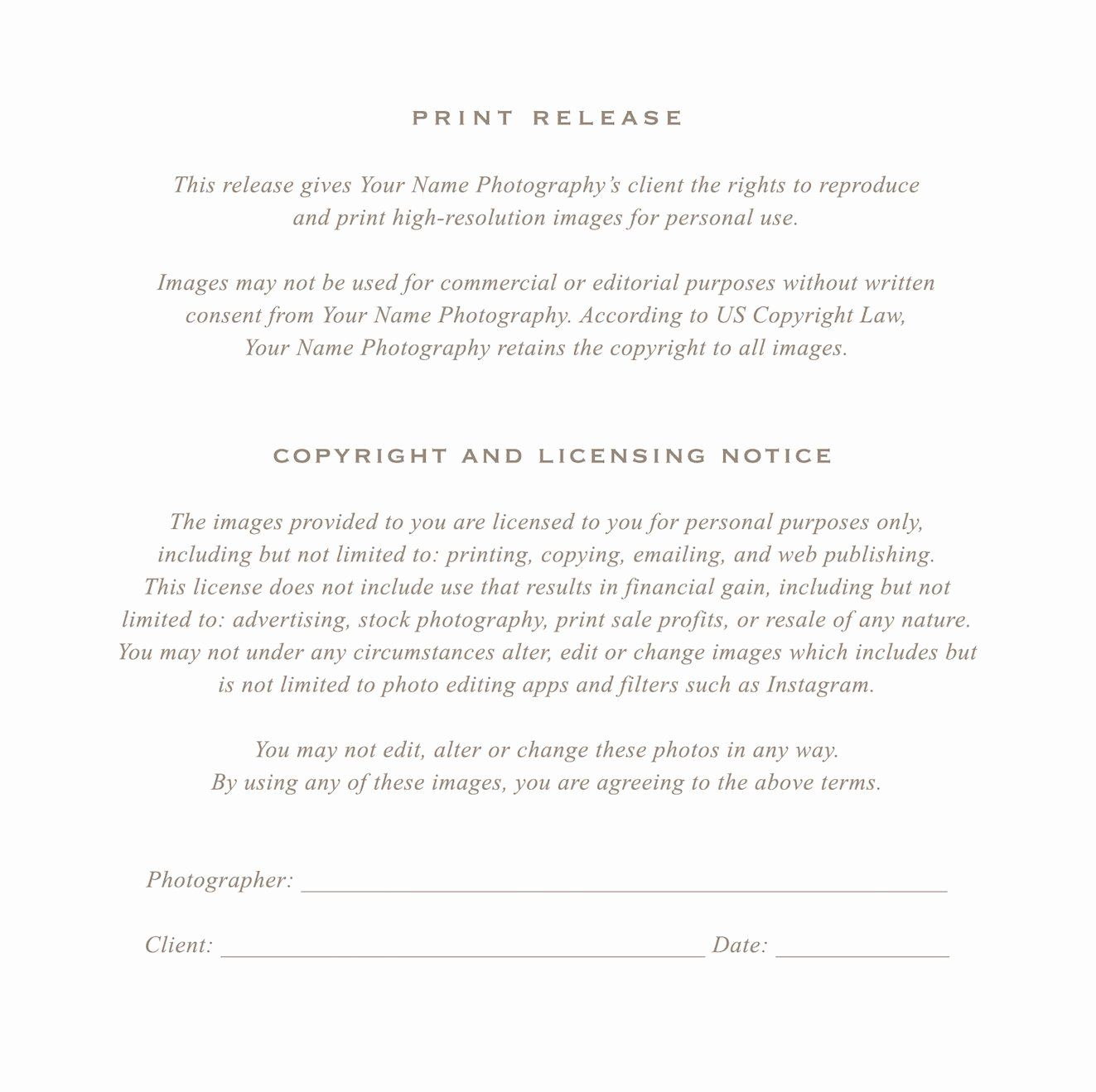 Client Print Release Form Template New Grapher Print Release Form By Photography Contract Photography Business Print Release