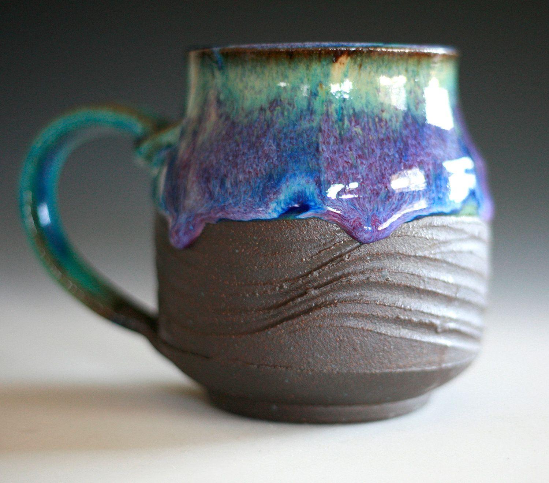 Set of 4 16 oz Handmade Ceramic Mug Twilight Blue  |Black Stoneware Pottery Mug