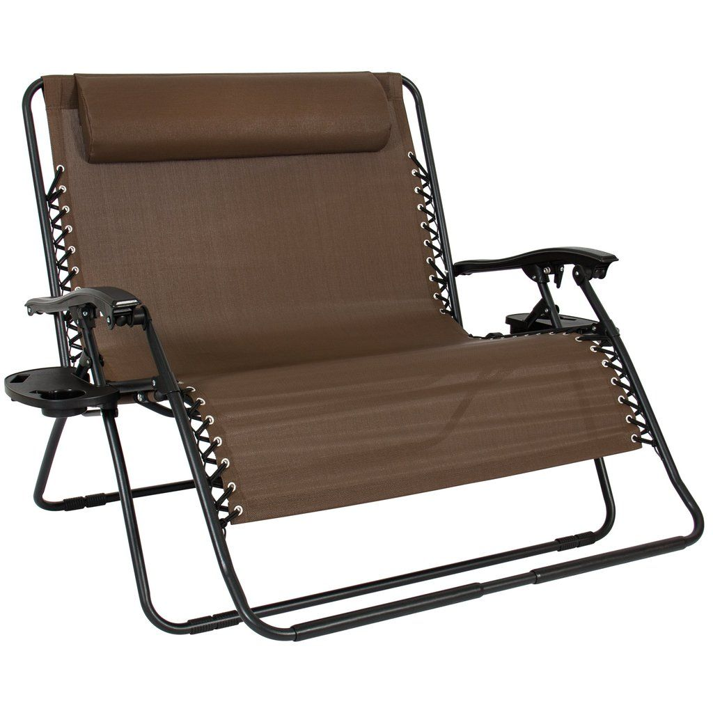 2Person Double Wide Zero Gravity Chair w/ Cup Holders