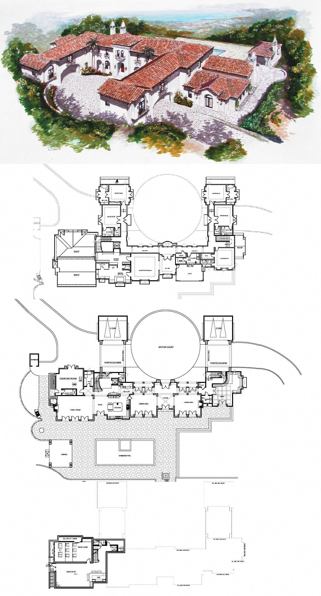 Spanish Style Estate To Be Built In Hillsborough Ca Spanishstylehomes Mansion Floor Plan Spanish Style Homes Courtyard House Plans