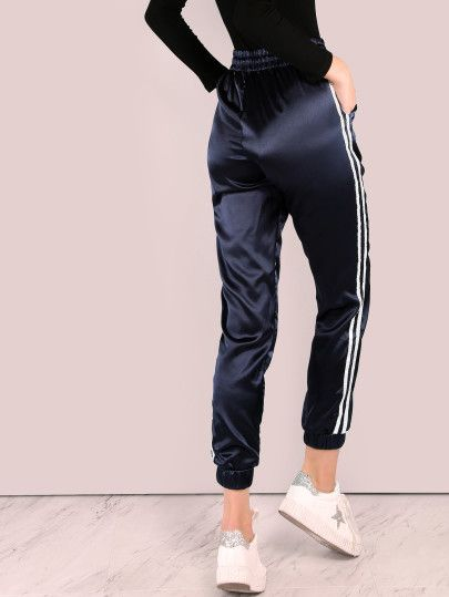4ab33ffe644f8 Shop Satin Trainer Joggers NAVY online. SheIn offers Satin Trainer Joggers  NAVY & more to fit your fashionable needs.