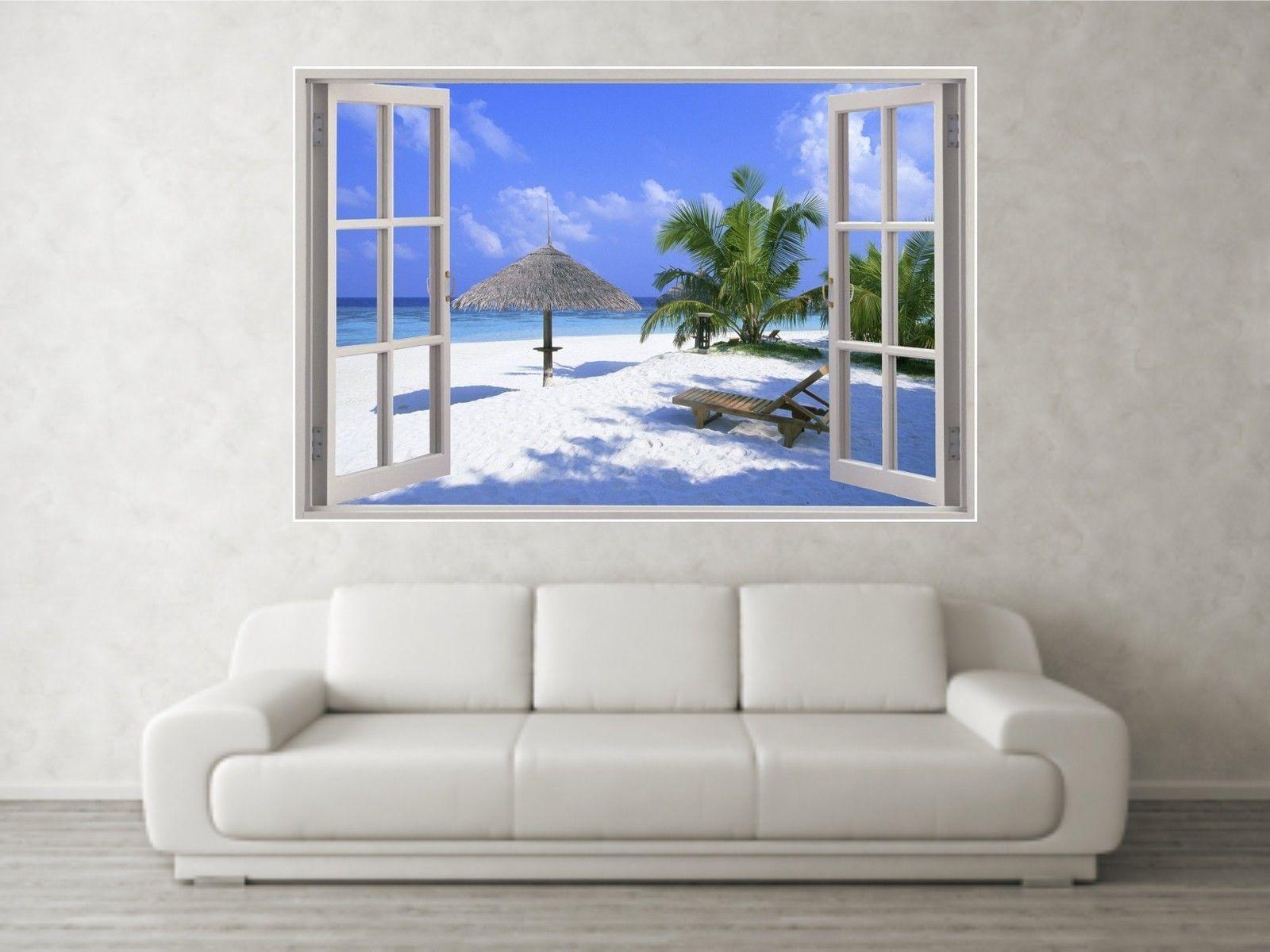 Details About Beach Scene 3 3d Full Colour Window Home Wall Art