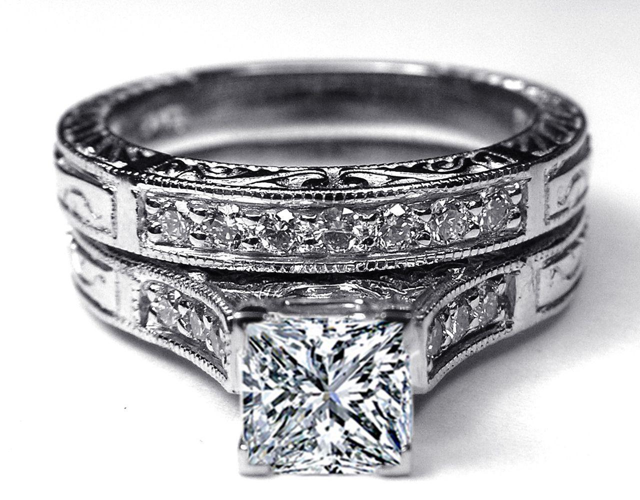 Princess cut diamond engraved engagement ring u matching wedding