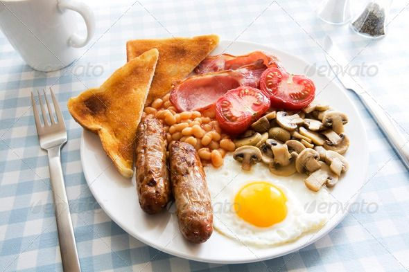 Delicious Cooked Breakfast On Table Setting - Stock Photo - Images