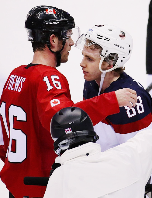 Jonathan Toews Hugs Patrick Kane After A Men S Hockey