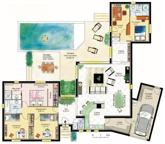 plan maison plain pied - Recherche Google MAISON PLAN Pinterest - plan maison  plain pied
