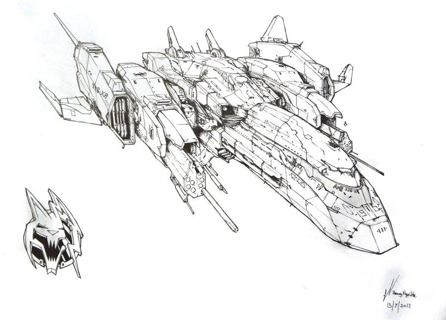a very nice detailed lineart drawing of a spaceship concept by