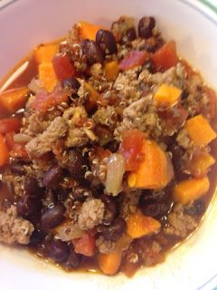 Life in my Kitchen...and beyond: #1,747: Black Bean Sweet Potato Quinoa Turkey Chili
