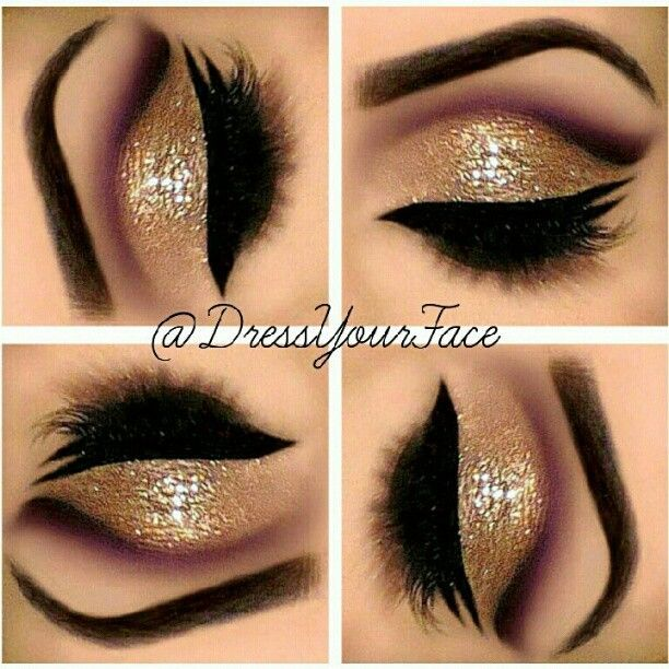 Gold glitter ….heavy brow and dark liner | Eye makeup - The Eyes ...