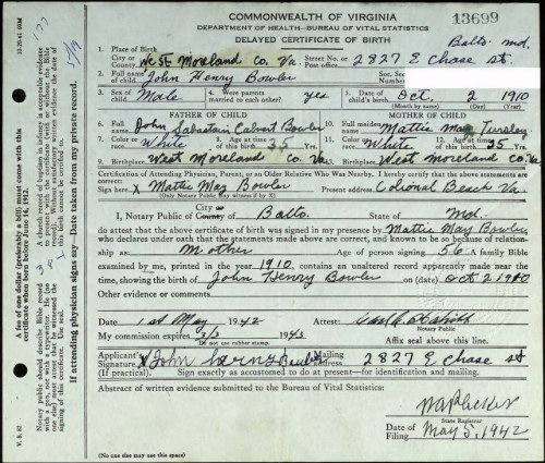 John Henry Bowler Commonwealth of Virginia Birth Record