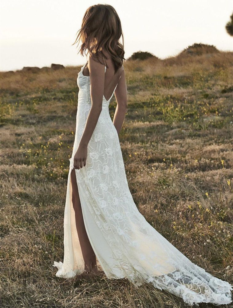 Details About Open Back Summer Lace Beach Wedding Dresses With Slits