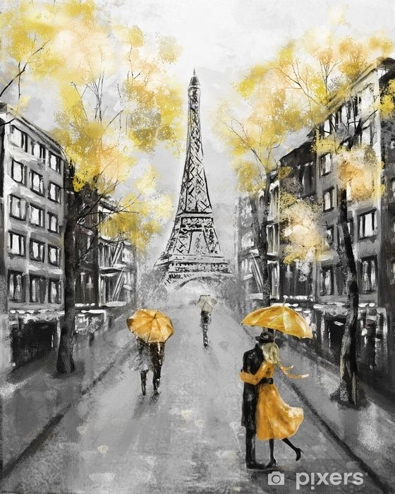 Oil Painting, Paris. european city landscape. France