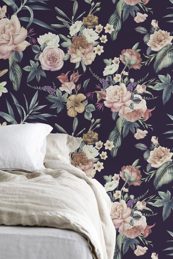Floral Wallpaper, Mural Wallpaper, Dark Floral, Tropical