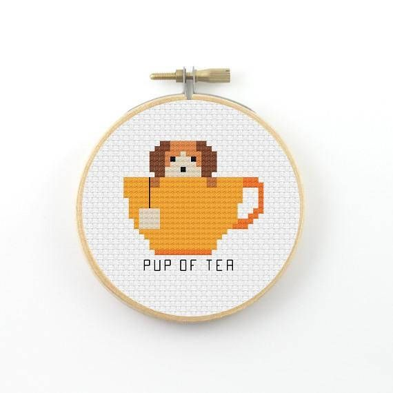 Pup of tea cross stitch pattern, tea pdf pattern, tea pun pattern ...