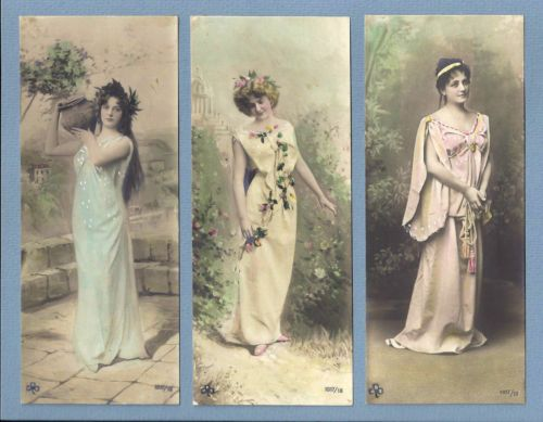 Set of 3 Old Real Photo French Postcards Unusual Bookmark Size - bookmark size