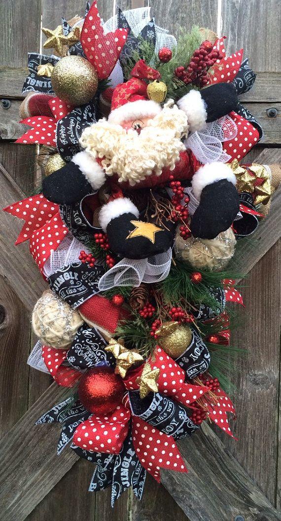 Christmas Wreath Rustic Christmas Wreath Snowman Wreath Primitive Christmas Decor Primitive Santa Rustic Santa Burlap Christmas Christmas Wreaths Chr