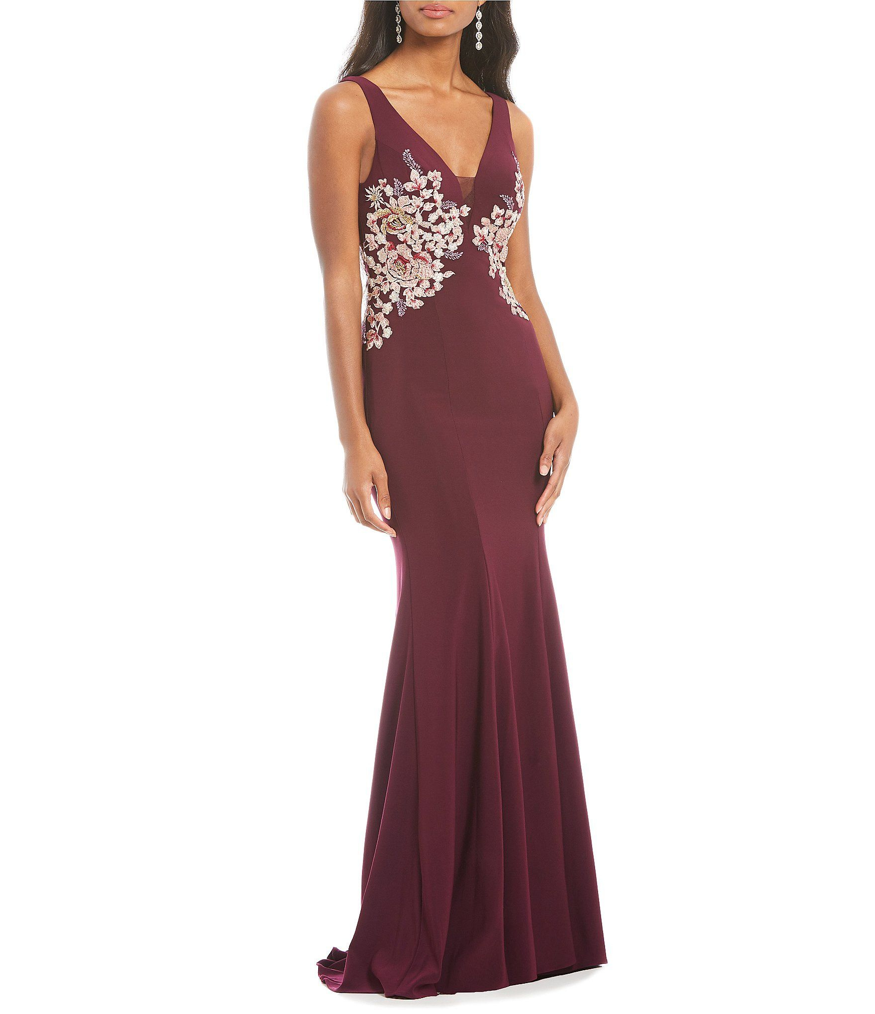 Xscape evenings deep vneck side embroidered gown pinterest