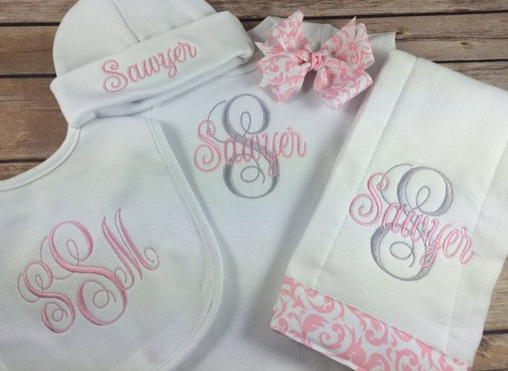 This monogrammed baby bodysuit set will make a wonderful baby girl coming home outfit personalized interlaced vines monogram bodysuit pink personalized baby burp cloth initial monogram newborn negle Gallery