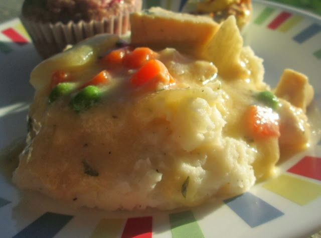 Crustless Chicken Pot Pie ~ make in the crockpot ~ Serve over mashed potatoes or with a warm roll.  Delicious!
