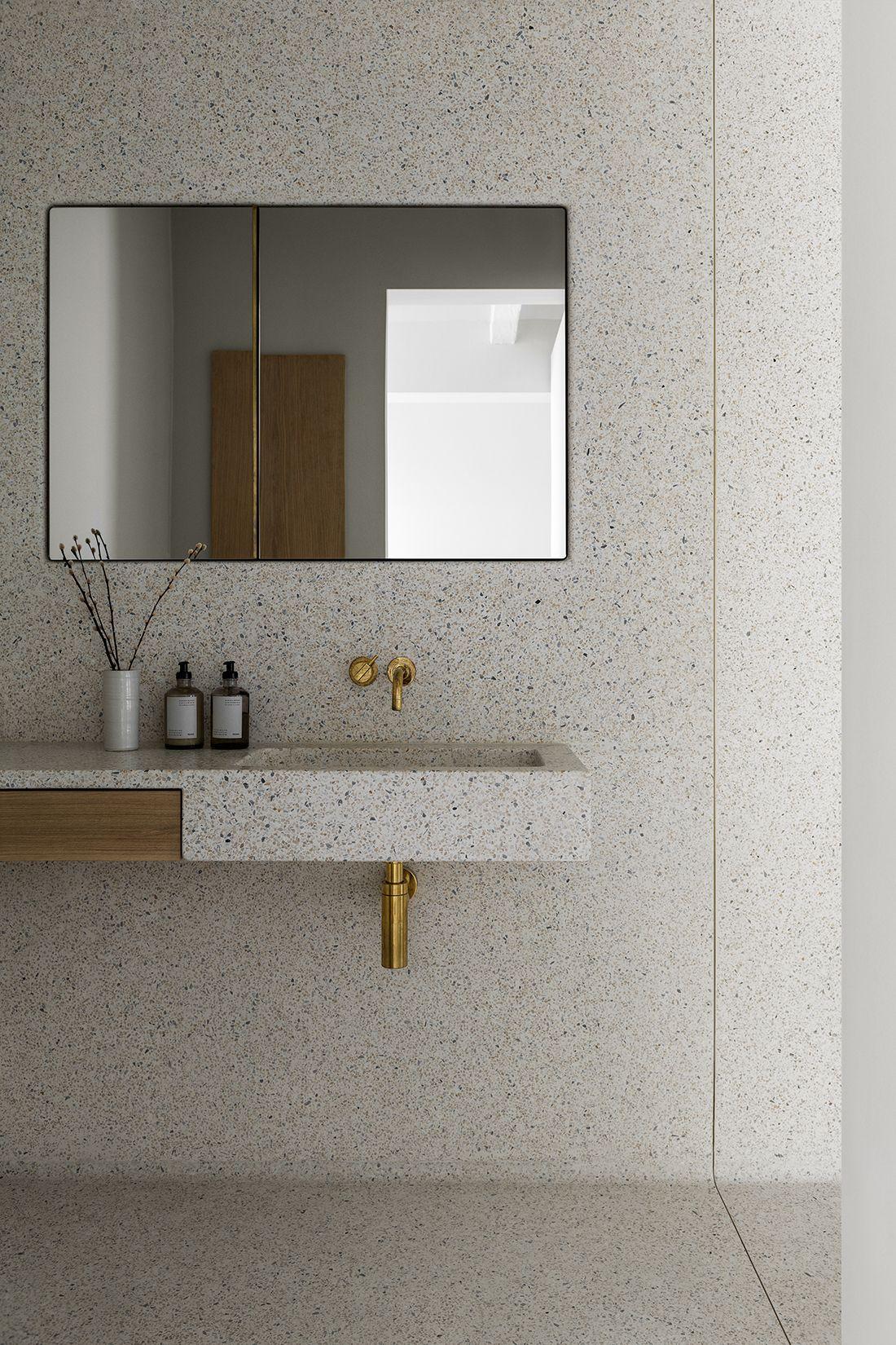 Terrazzo Bathroom Loveliness Paired With Brass Interiordesign