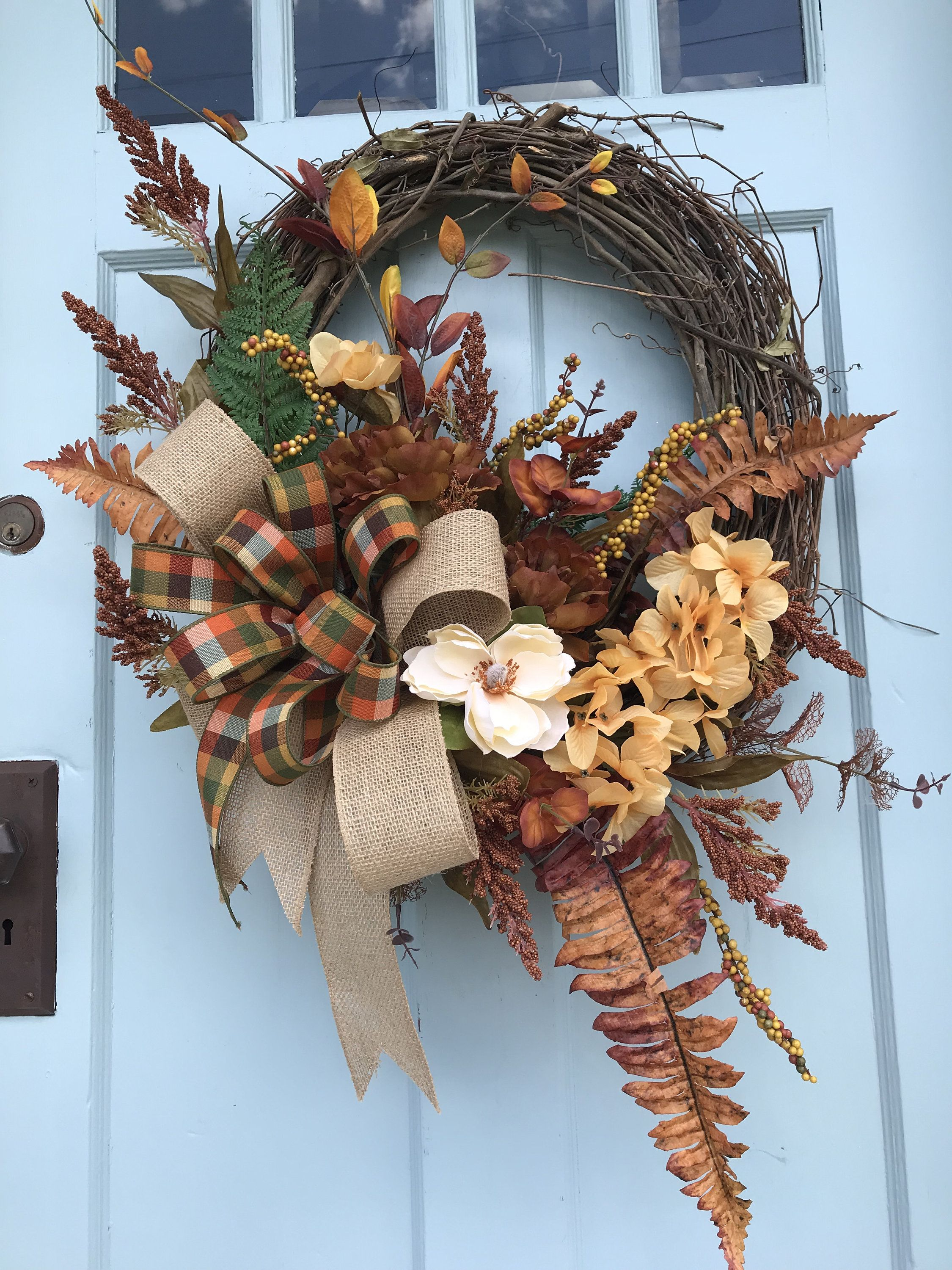 Photo of Brown and Gold Fall wreath for front door, Autumn Pumpkin Floral Grapevine Wreath for Door, Friends wreath for front door, pumpkin wreath,