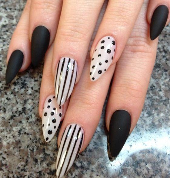 Polka dots, stripes, matte stiletto nails | Stiletto Nails ...
