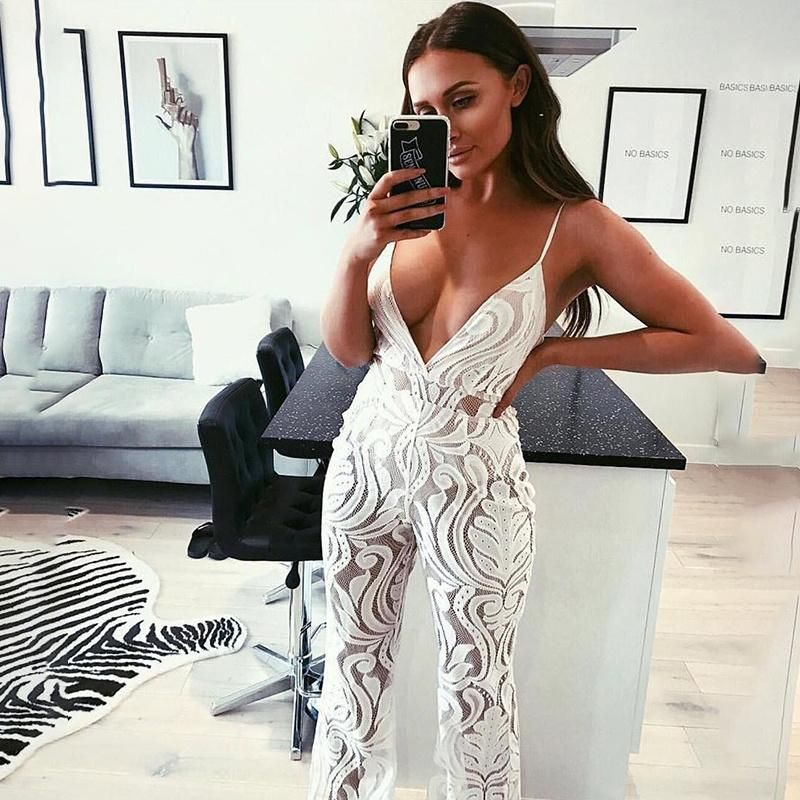 New Pink Lady New Arrival Spaghetti Strap Deep V-Neck lace Mesh Floral Long  Boot Cut Jumpsuits Sexy Women s Romper 9b2229d17986