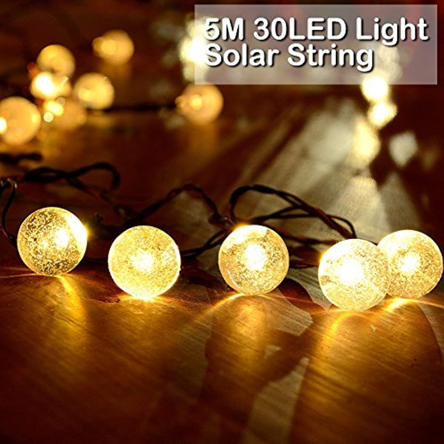 Garden Lighting Equipment patio lights 50 LED Solar Powered Crystal Ball Fairy String Light Garden Party Xmas Light 10M