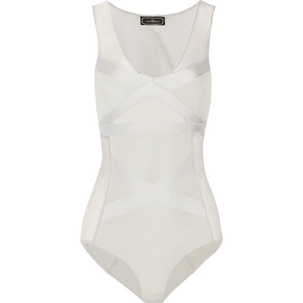 Majionas stretch-jersey and mesh bodysuit (235 BRL) ❤ liked on Polyvore  featuring 7ef73473b