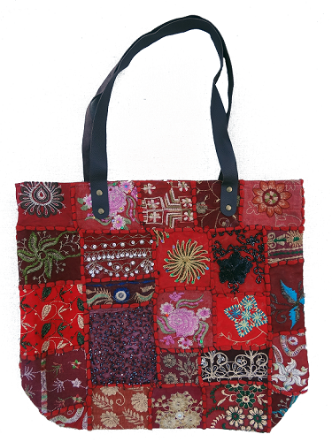 817d0e497807 Quilted Sari Bag  36 - Made from recycled sari scraps and comes in 5 colors.