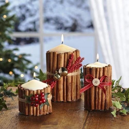 30 Handmade Christmas Decorations With Cinnamon Sticks Adding Seasonal Aroma To Green Holiday Decor Christmas Candle Decorations Christmas Candles Diy Diy Holiday Candles