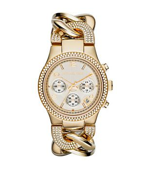 e5f0340280e0 Michael Kors Runway Twist Gold Stainless Steel Bracelet Watch ...