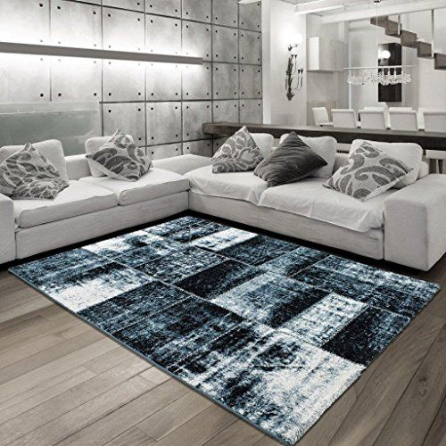 teppich wohnzimmer carpet modernes design patchwork riva vintage rug 120x170 cm blue teppiche. Black Bedroom Furniture Sets. Home Design Ideas