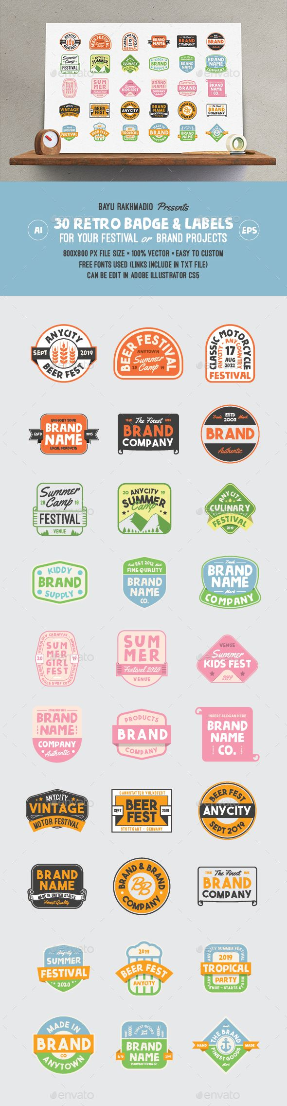 30 Retro Cute Badge / Label | Badges, Ai illustrator and Template