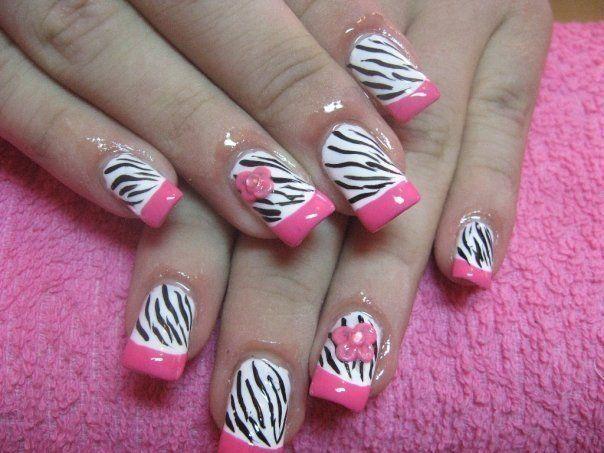Pink Zebra Style Nails Pinterest Pink Zebra Pink Zebra Nails