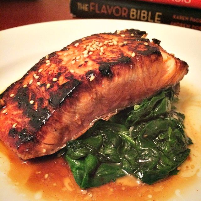 DINNER TONIGHT: SESAME GINGER TERIYAKI SALMON WITH GARLIC LEMON SPINACH — DELLA LASHAUN
