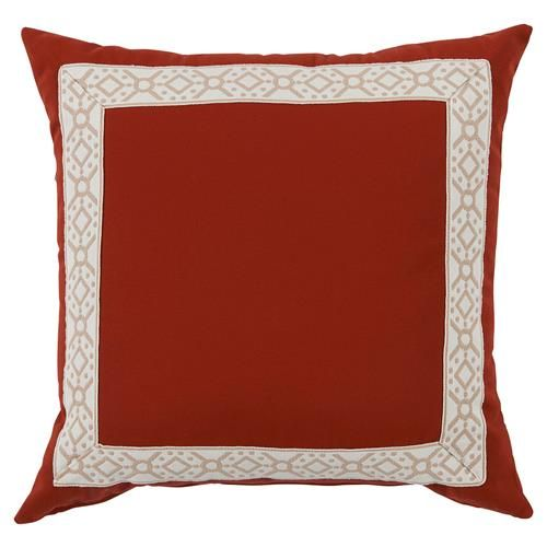 Perri Modern Global Trim Red Outdoor Pillow - 22x22 | Kathy Kuo Home