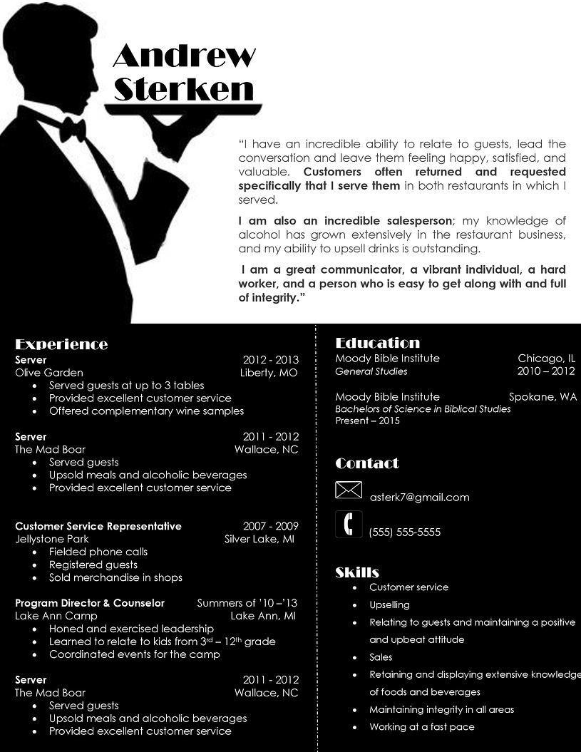 Server Resume Cv Serveuse Cv Graphique Idee Cv