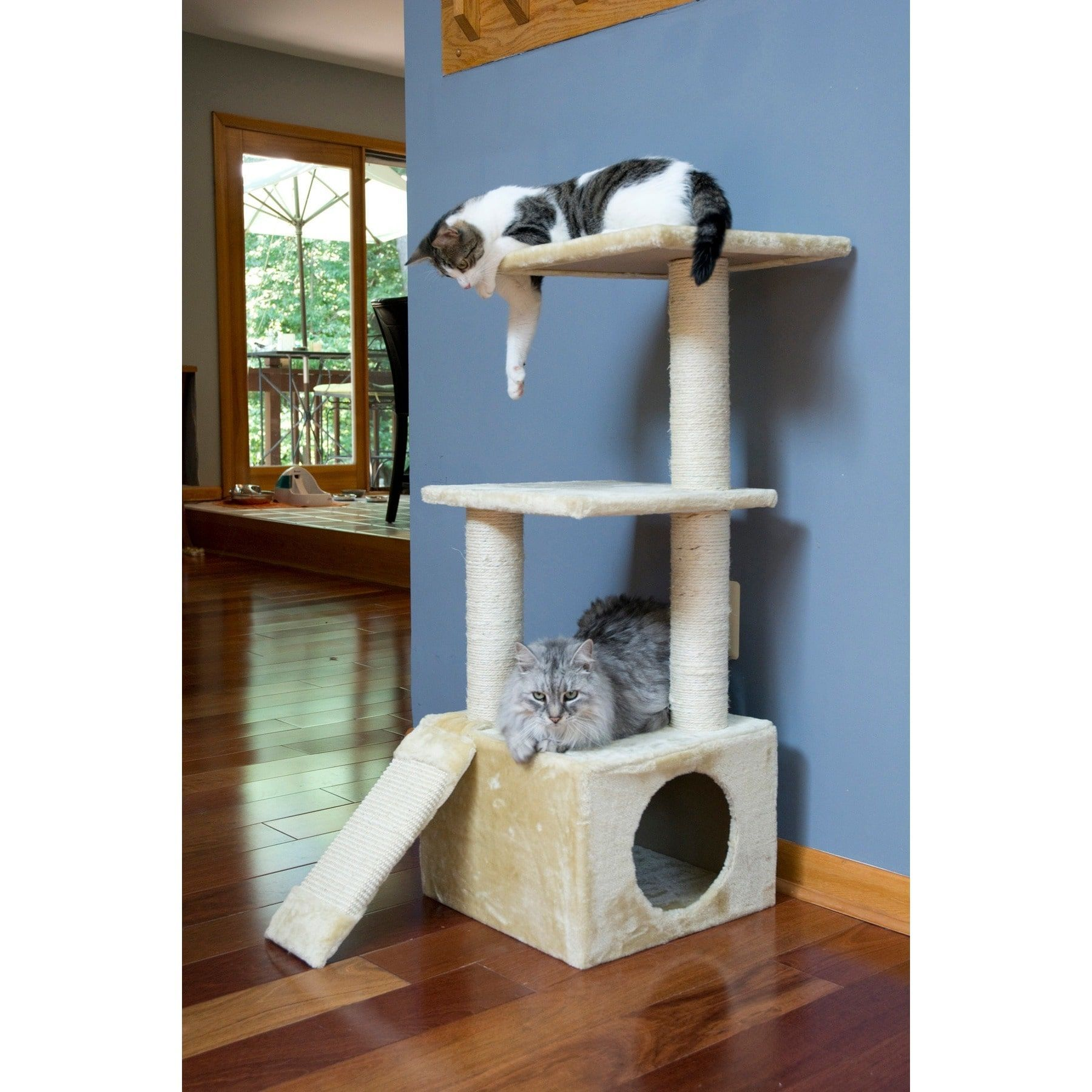 Iconic Pet 3 Level Cat Tree Condo With Sisal Ramp And Posts Dinding