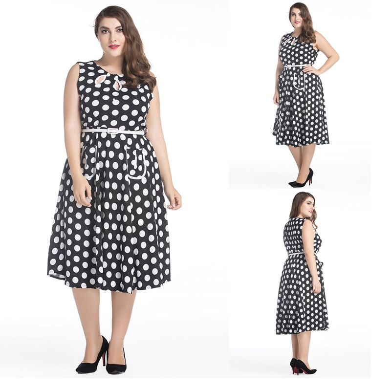 Big Size 2017 Fat MM Woman Dress Summer Casual Belted Dot Print Dresses  Plus Size Women Clothing Dress