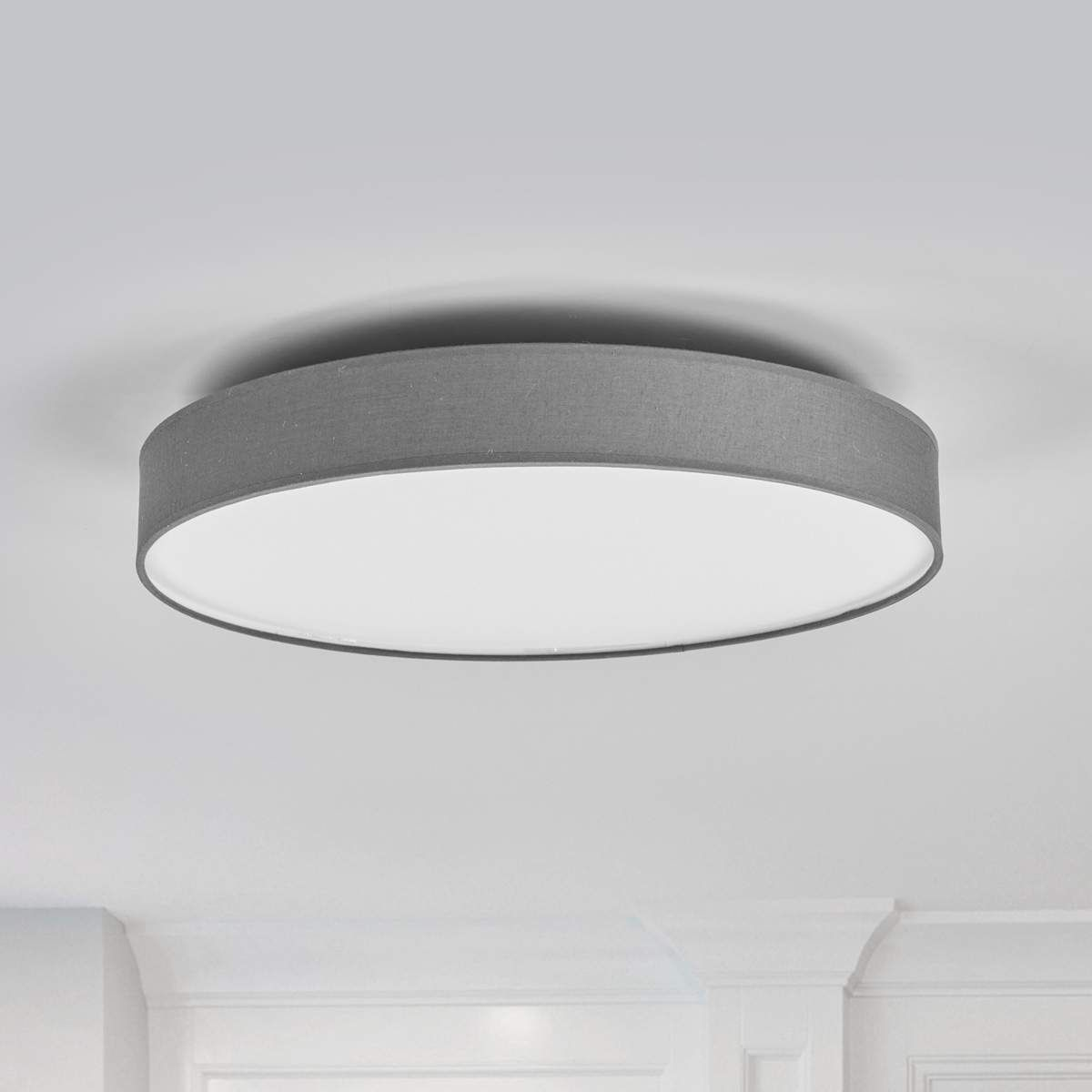 Led Stoffdeckenlampe Saira 50 Cm Grau Beleuchtung Decke Lampen Leuchtstoffrohre