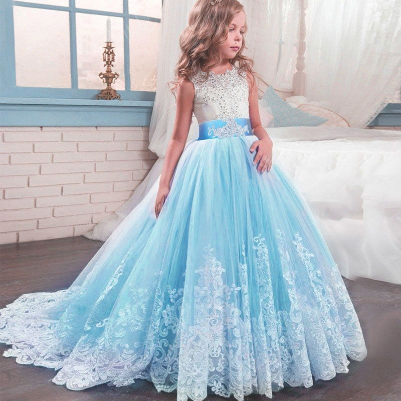 Junior Bridesmaid Dress Flower Girl Wedding Party Prom Communion Dress 4-14Years