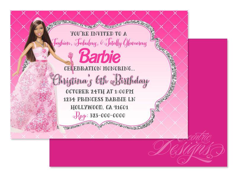 Barbie Princess Digital Birthday Party Invitation Child Party – Digital Birthday Party Invitations