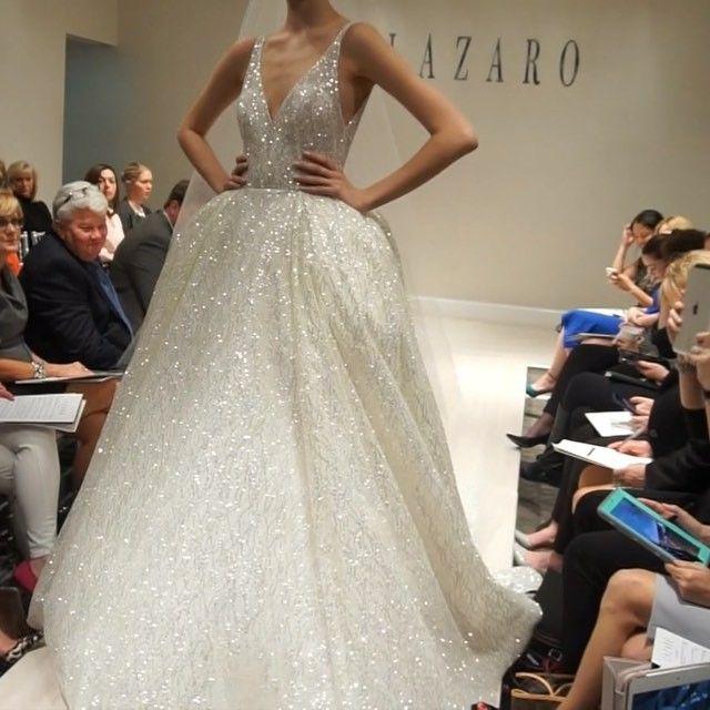 Fall 2016 Shimmery Lazaro Princess Gown Sparkle Wedding Dress
